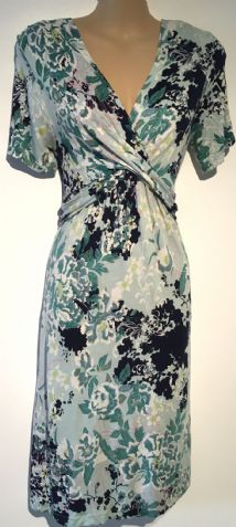 M&S GREEN FLORAL JERSEY NURSING FRIENDLY DRESS SIZE 8